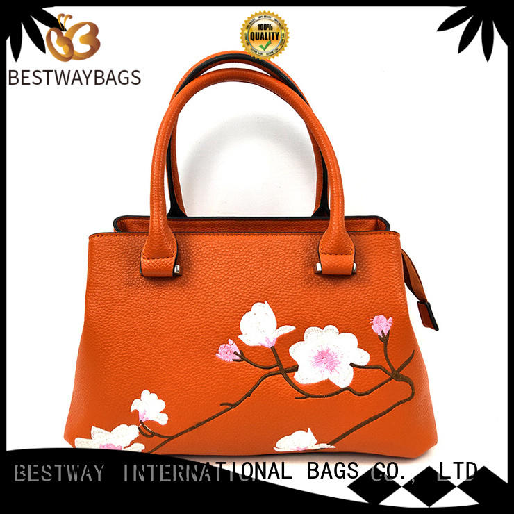 Bestway embroidery pu leather bag supplier for women