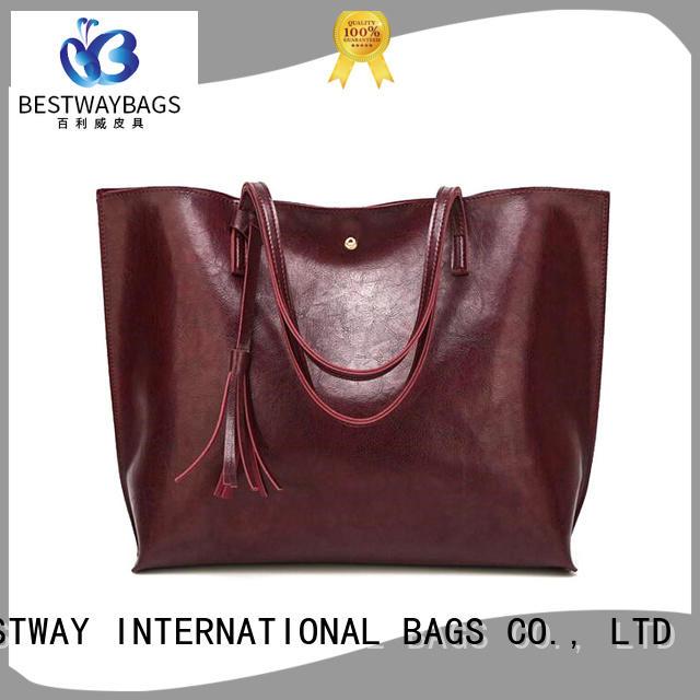 Bestway red pu leather handbags online for women