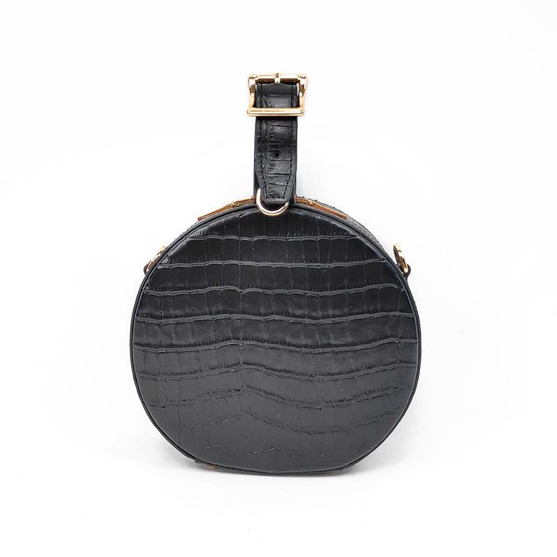 Ladies Designer Leather Handbags Black Round Small Bags