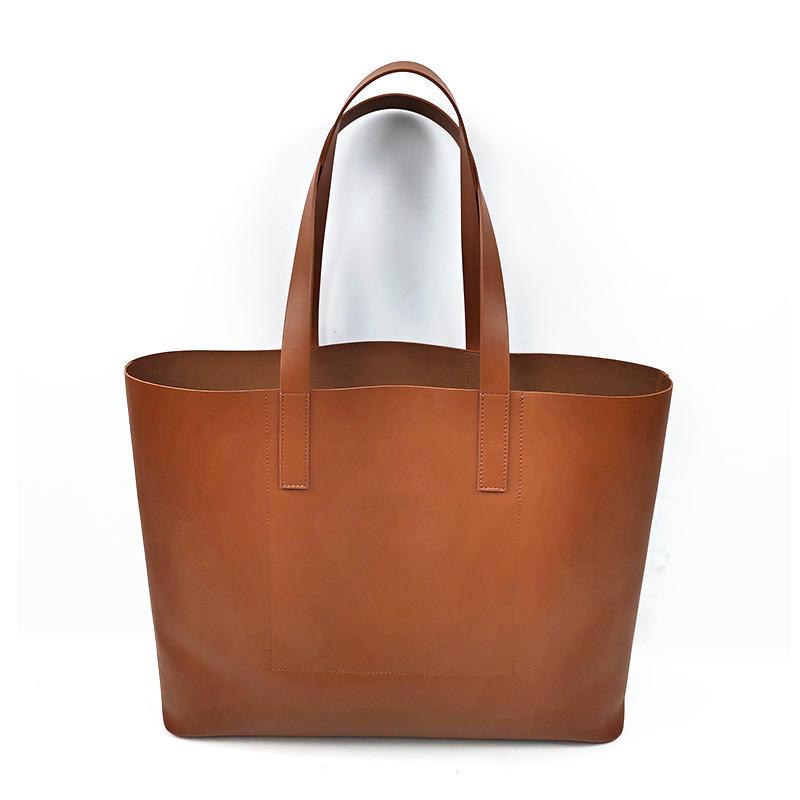 Bestway 2019 Custom Big Simple Shopping Travel Leather Tote Bag For Ladies