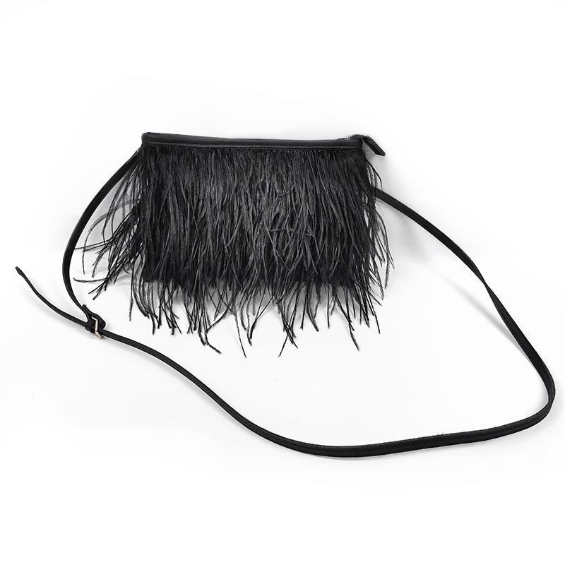 Stylish Small Evening Black Clutch Bag Cross Body Purses With Beautiful Fur