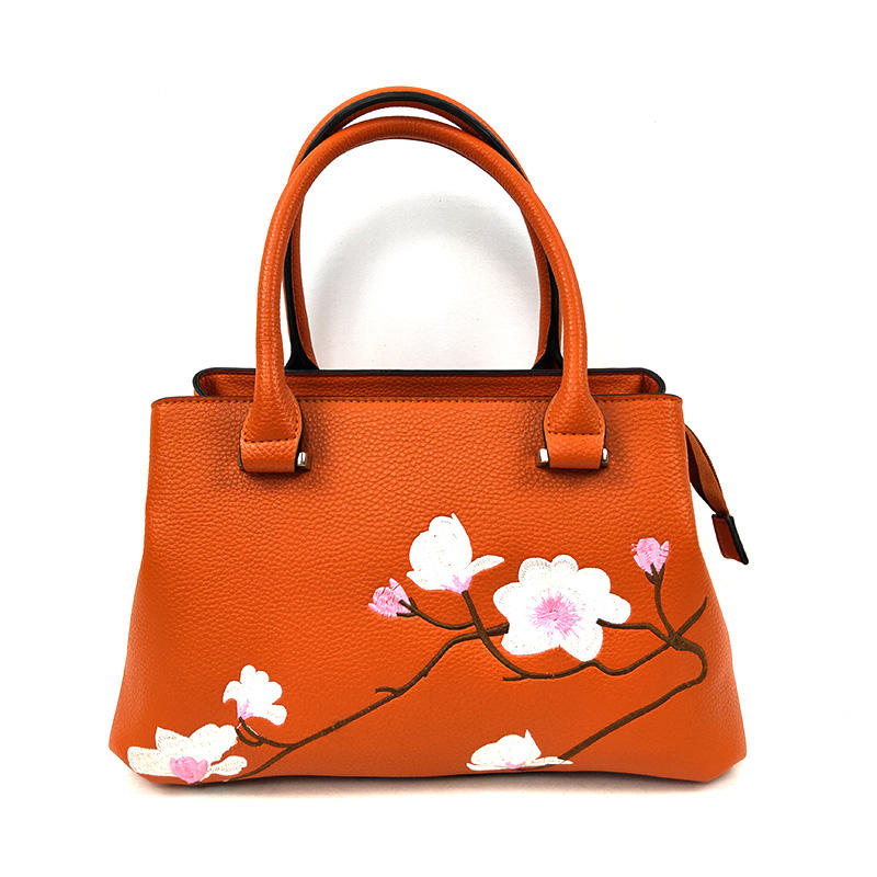 Trendy Quality Elegance Floral Embroidery Bags Private Label Tote Handbags