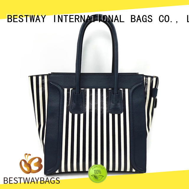 easy match striped canvas tote bag logo wholesale for shopping