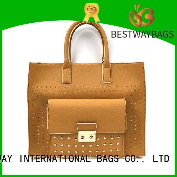 Bestway elegant taupe leather bag online for lady
