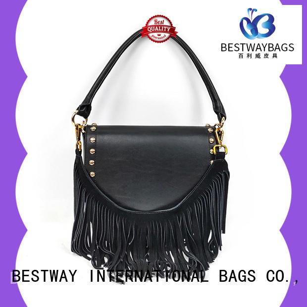 trendy black leather pocketbooks vendor manufacturer for daily life