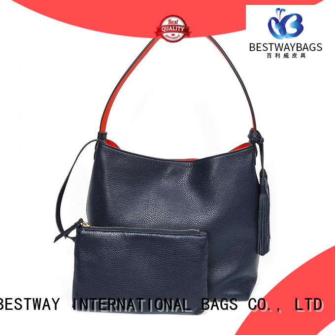 Elegant Fancy Bucket Cow Leather Hand Bag For Women With Fashion Wide Shoulder Strap