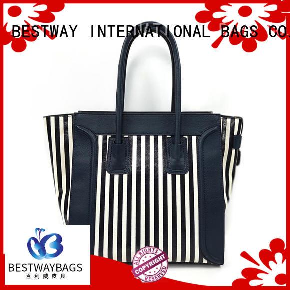 Wholesale Dongguan Designer Strip Canvas Coated Handbags Famous Brands Female Tote Bags