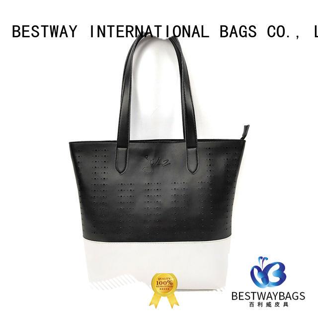 Popular Summer Black and White Discount Designer New Split Leather Ladies Tote Hobo Handbags