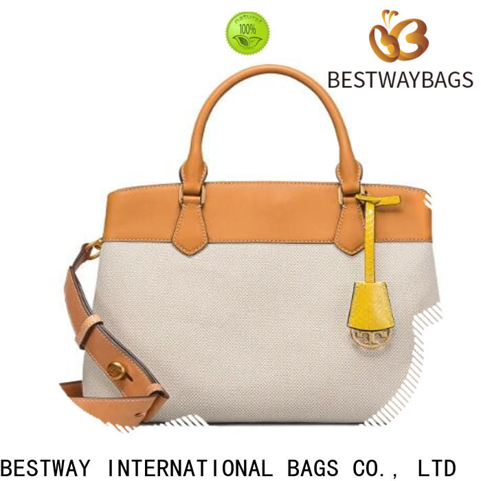Bestway leather striped canvas tote bag personalized for travel