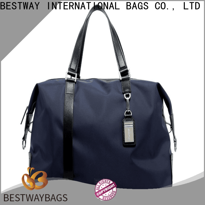 capacious nylon handbags with leather handles customized on sale for gym