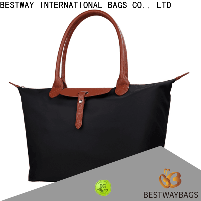 Bestway waterproof nylon tote with leather straps supplier for gym