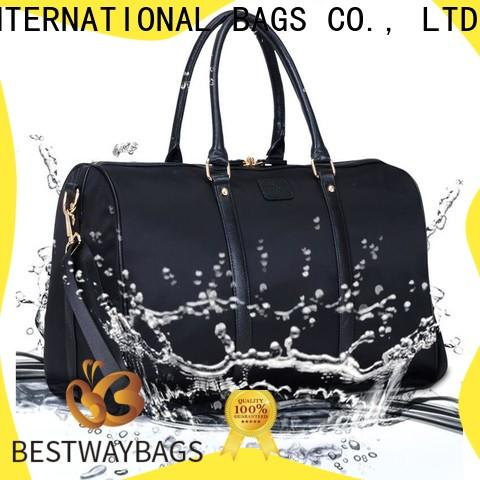 capacious popular nylon bag with leather straps travel for business for sport