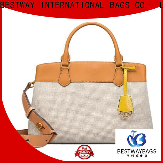 Bestway white canvas leather handbag company for relax