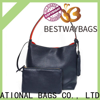 Bestway customized blue leather bag manufacturers for date