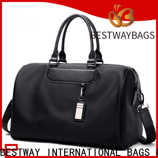 Bestway capacious nylon handbags with leather handles manufacturers for gym