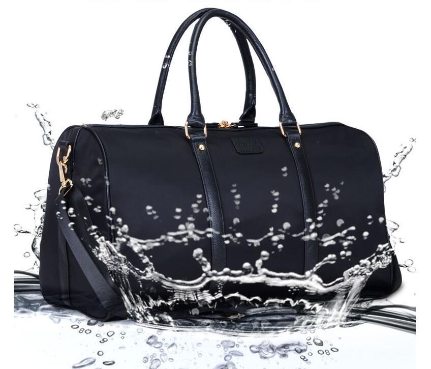 Custom Large Travel Bag Women's Nylon Leather Trim Handbag For work