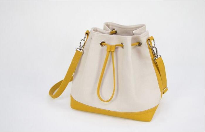 White Canvas Standard Size Cotton Bucket Bag Shoulder Canvas Bag With Leather Trim
