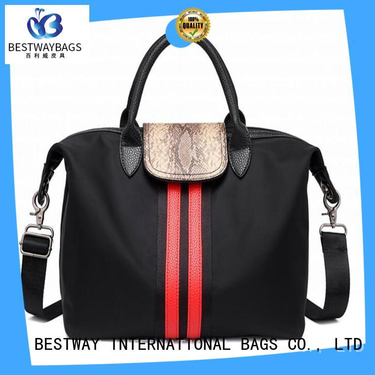 Bestway durable nylon handbags with leather handles personalized for bech
